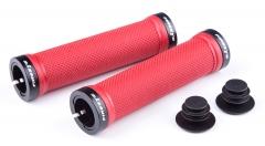 Ручки руля FireEye Goosebumps-R 128 мм з замками червоний
